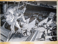 Earl Norem 1960's Acrylic Mens' Action Painting Rescuing a Beautiful Ladyhigh above the city vs the Russians or Germans?